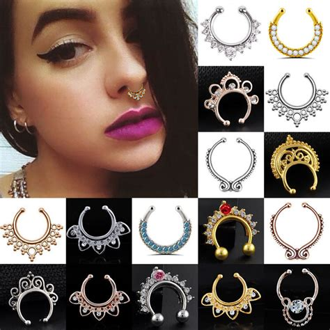 Charms Fake Septum Clicker Crystal Nose Ring Non Piercing