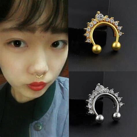 New Fashion 1pc Fake Clip On Non Piercing Crystal Septum