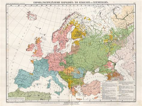Europe, distribution of population after languages and