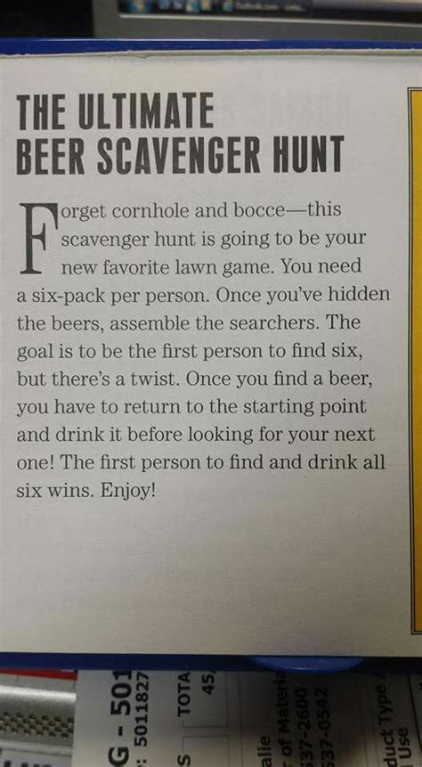 The Ultimate Beer Scavenger Hunt!   Birthday games for