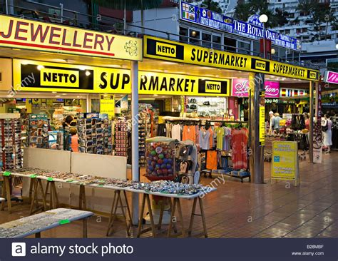 Netto supermarket and shops in shopping centre Puerto Rico